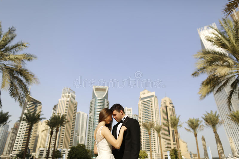 美丽的拥抱在迪拜的新娘和新郎 免版税图库摄影