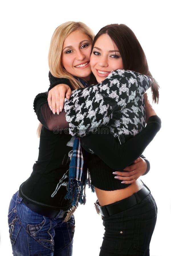 美丽的拥抱女孩纵向二 免版税库存图片
