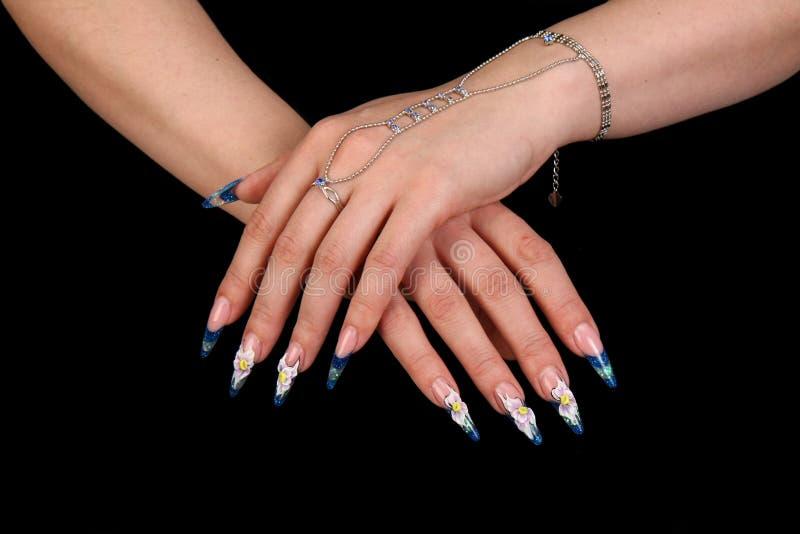 美丽的指甲盖手指人力长的m 免版税库存照片