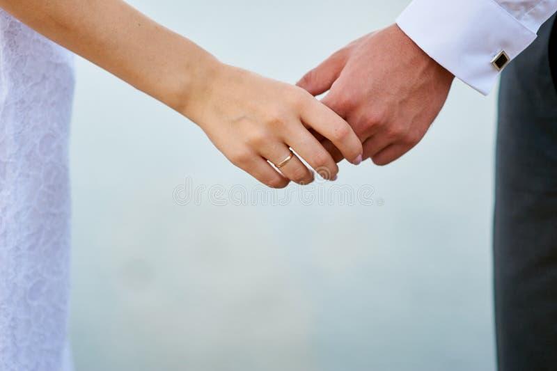 美丽的握手的婚礼夫妇、新娘和新郎 免版税图库摄影