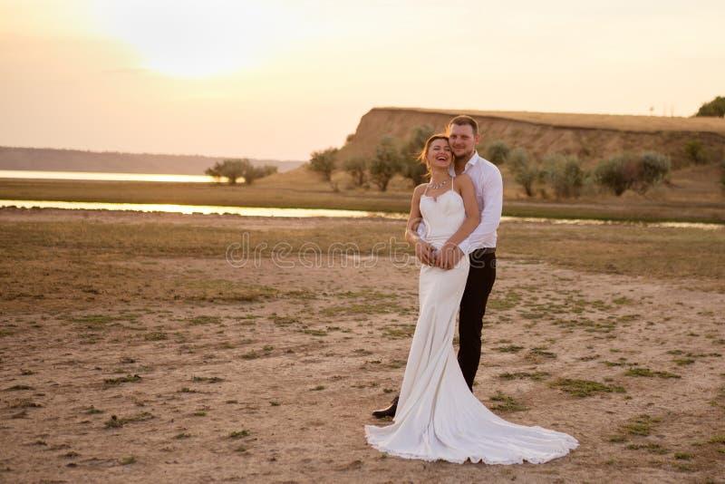 美丽的摆在领域的婚礼夫妇、新娘和新郎 免版税库存图片