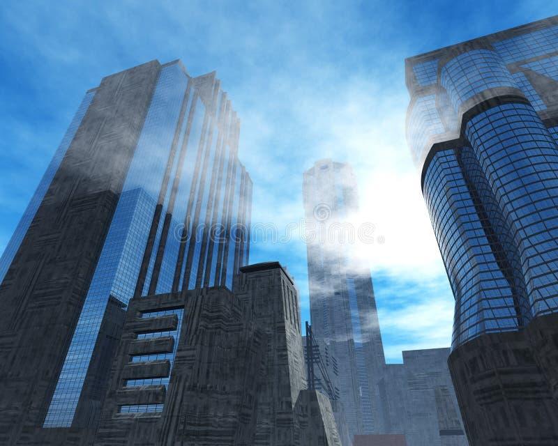 美丽的摩天大楼和棕榈树,修造在天空背景 向量例证