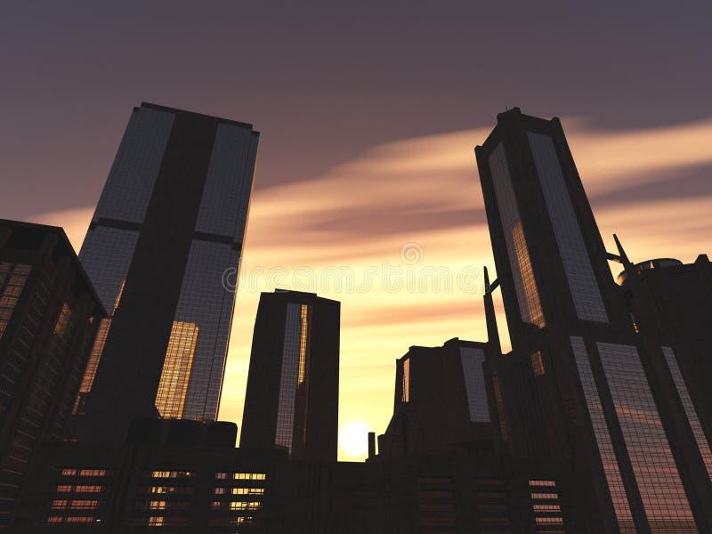 美丽的摩天大楼和棕榈树,修造在天空背景 皇族释放例证