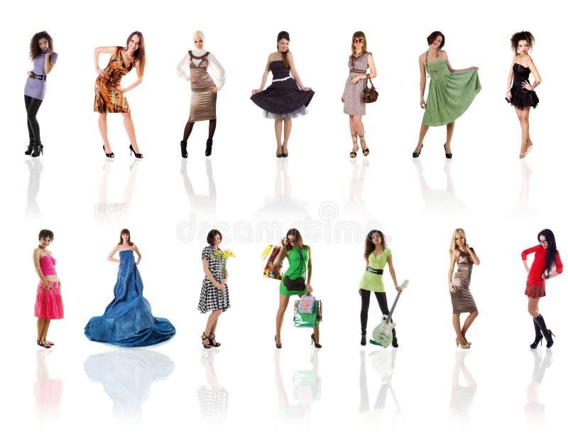 美丽的收集照片白人妇女 免版税图库摄影