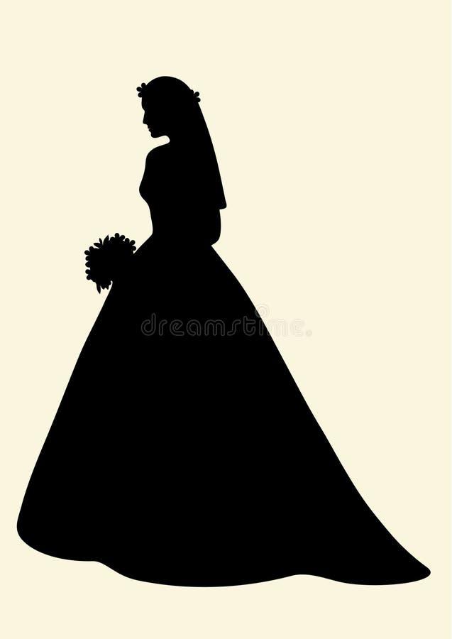 美丽的新娘剪影 库存照片