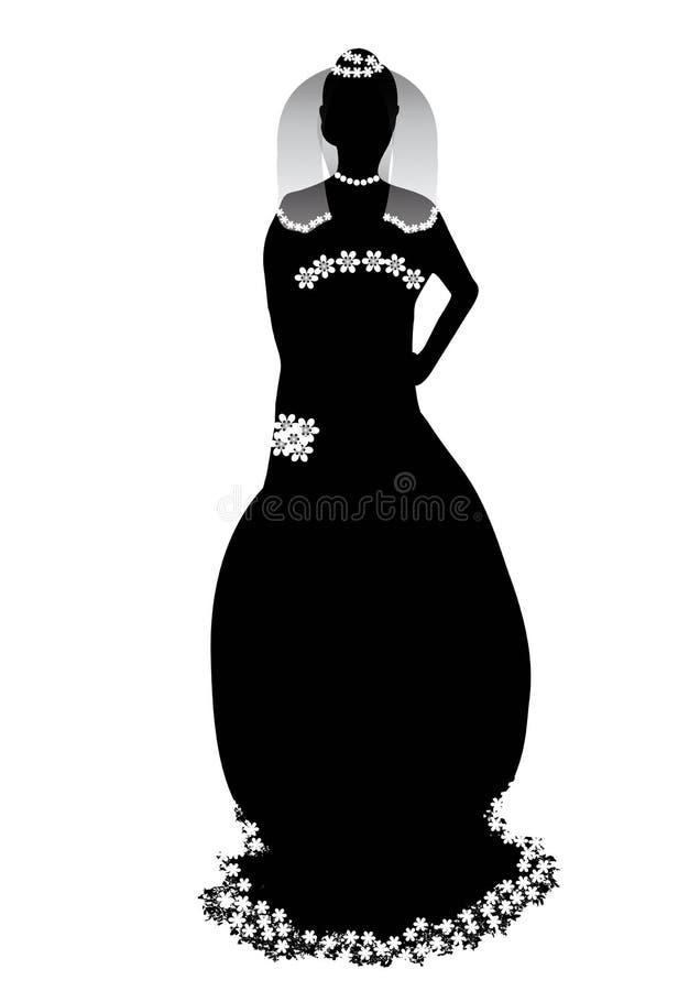 Download 美丽的新娘剪影 向量例证. 插画 包括有 花束, 图画, 花卉, brewster, 布赖恩, 礼服, 夫人 - 30337083