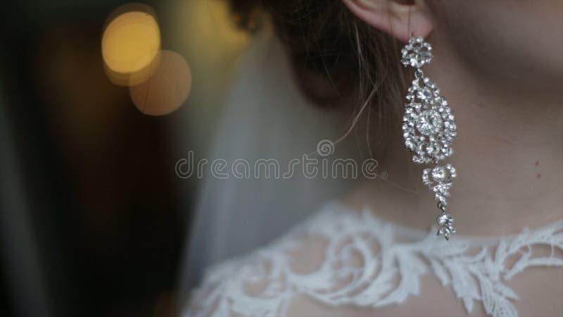 美丽的新娘投入耳环 秀丽式样女孩佩带婚姻的首饰 婚姻的女性画象 妇女 免版税库存图片