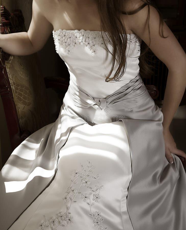 美丽的新娘礼服银 库存照片
