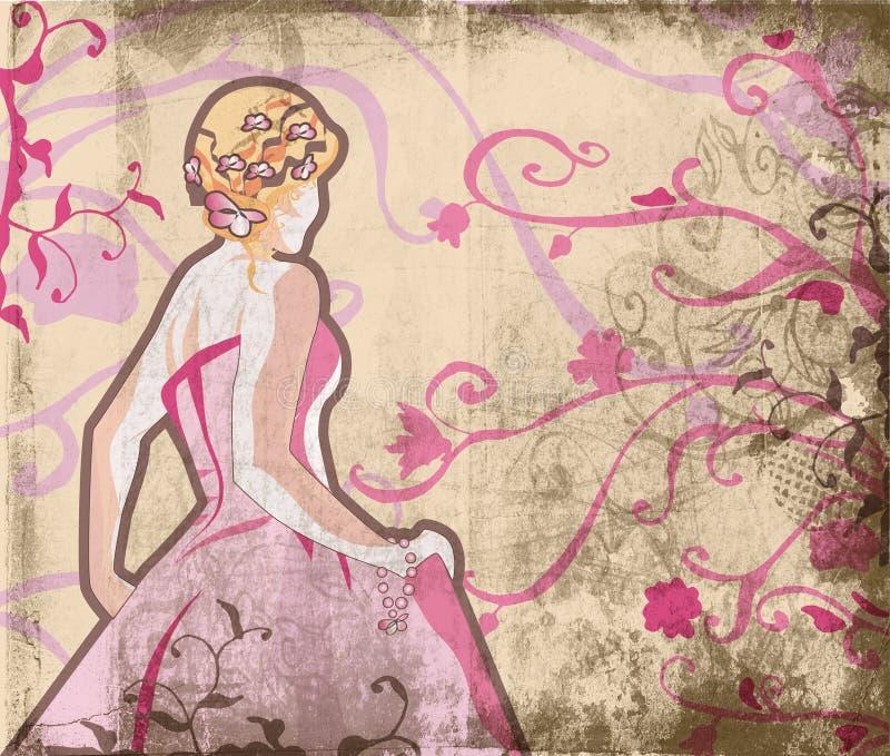 美丽的新娘grunge页 皇族释放例证