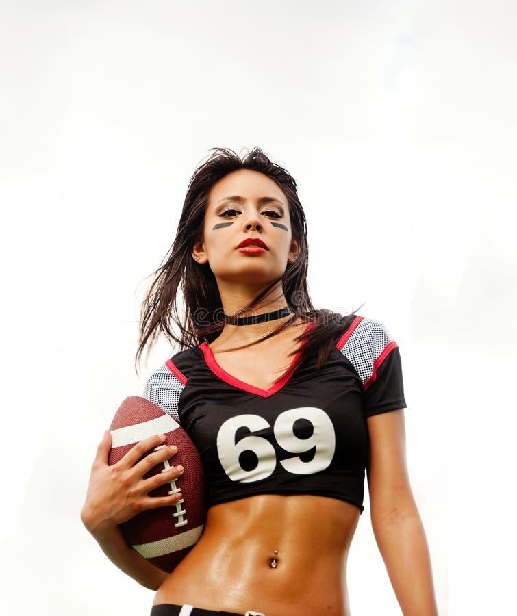 美丽的新橄榄球妇女 免版税库存照片
