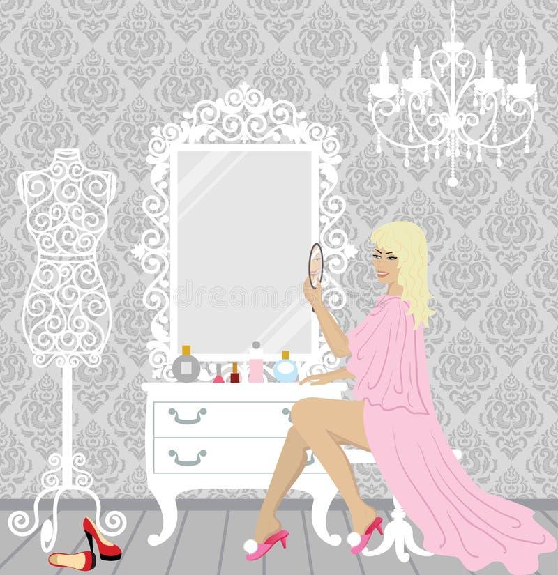 美丽的方式妇女在她的闺房 向量例证