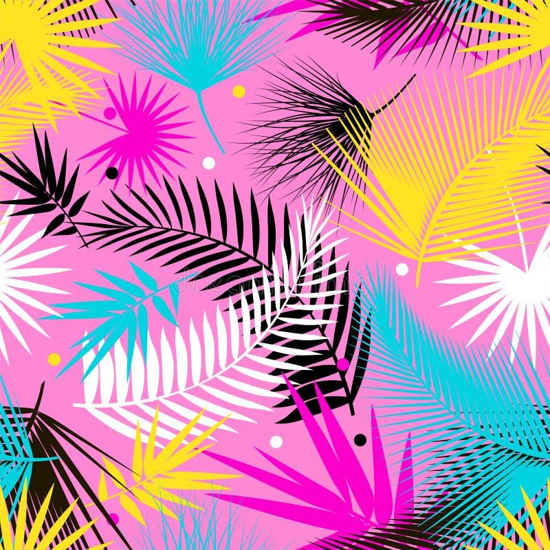 美丽的无缝的热带与棕榈叶的密林花卉样式背景 流行艺术 时髦样式 明亮的颜色 库存例证