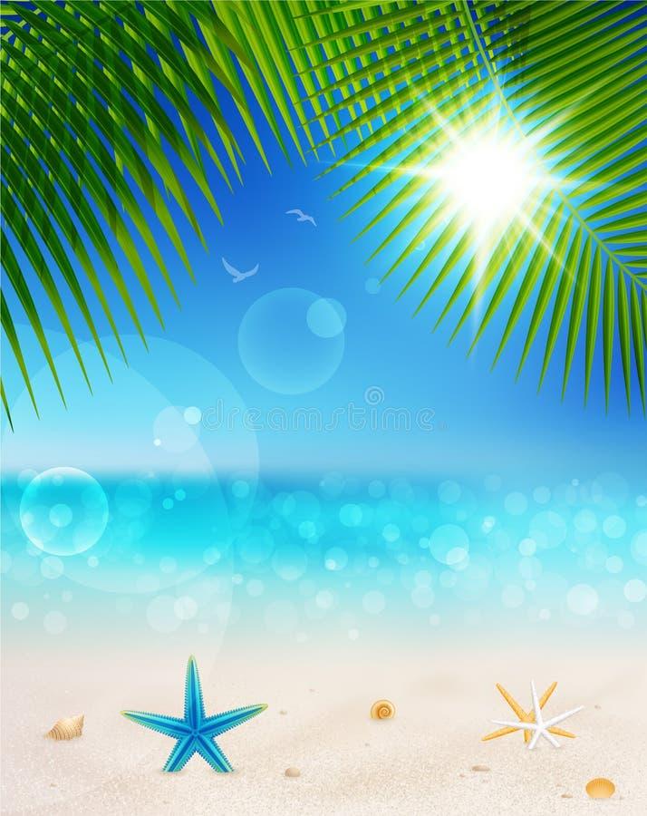 美丽的日沙子海边晴朗的视图 向量例证