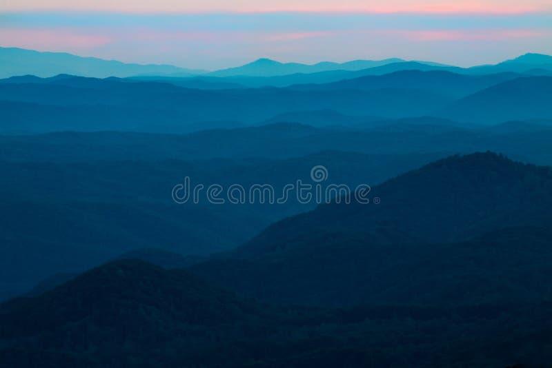 美丽的日落发烟性山国家公园田纳西 库存照片