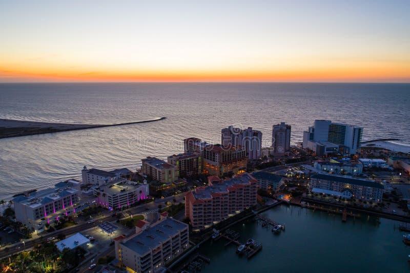 美丽的日落Clearwater海滩佛罗里达美国 免版税库存图片
