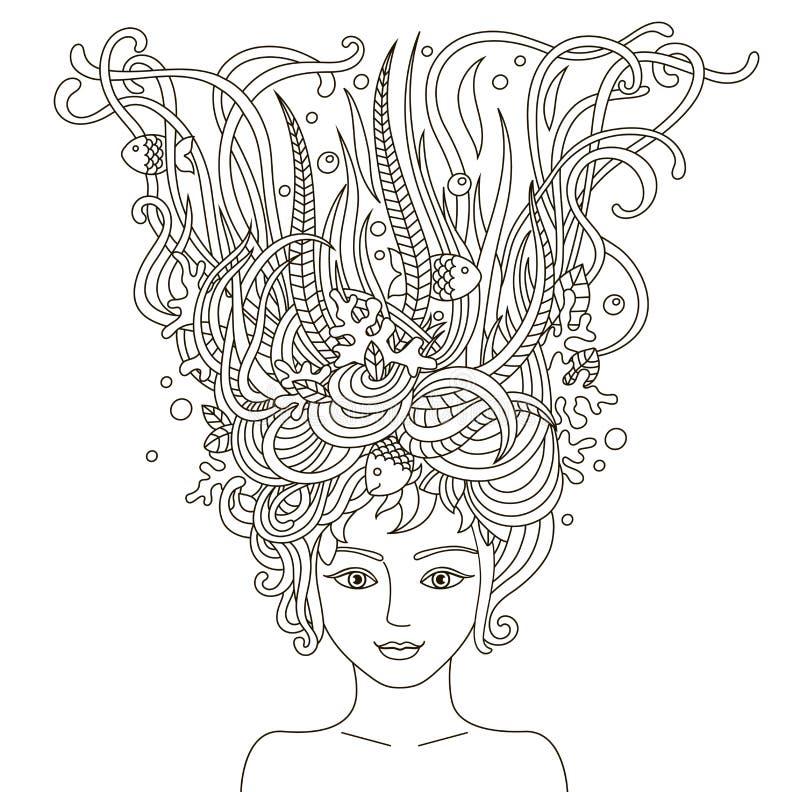 美丽的时尚妇女画象有抽象波浪发的 皇族释放例证