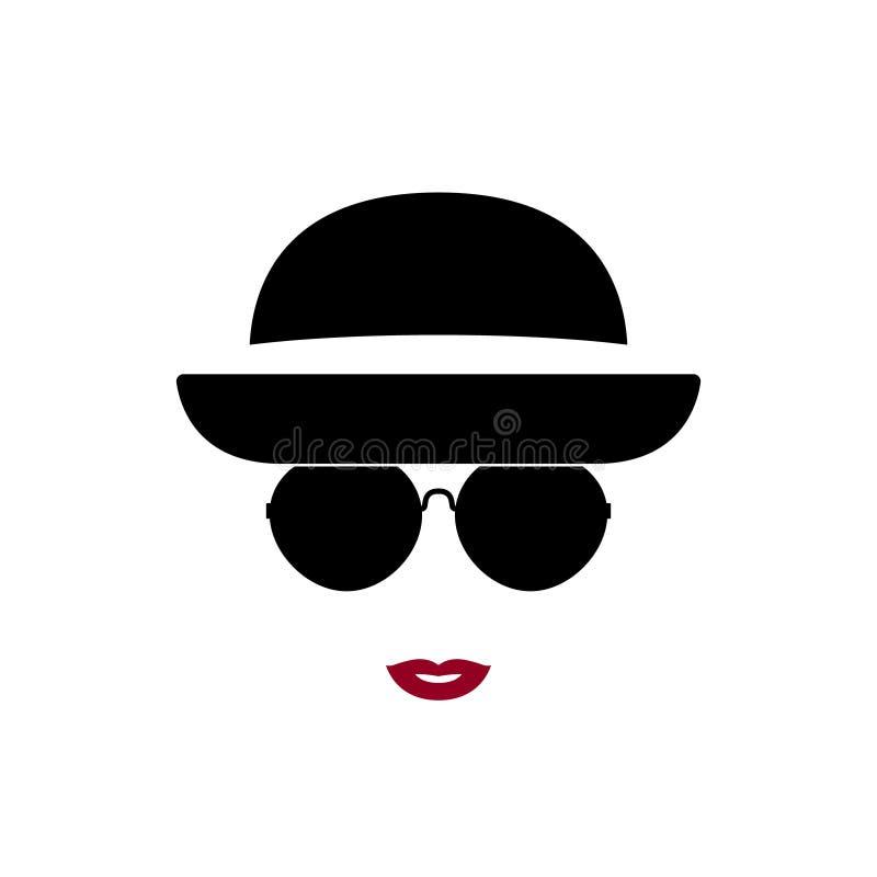 美丽的时髦妇女佩带的玻璃和帽子画象  库存例证