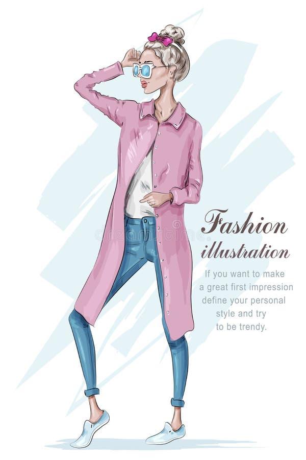 美丽的时髦的女孩佩带的牛仔裤和羊毛衫 有太阳镜的手拉的女孩 方式妇女 草图 皇族释放例证
