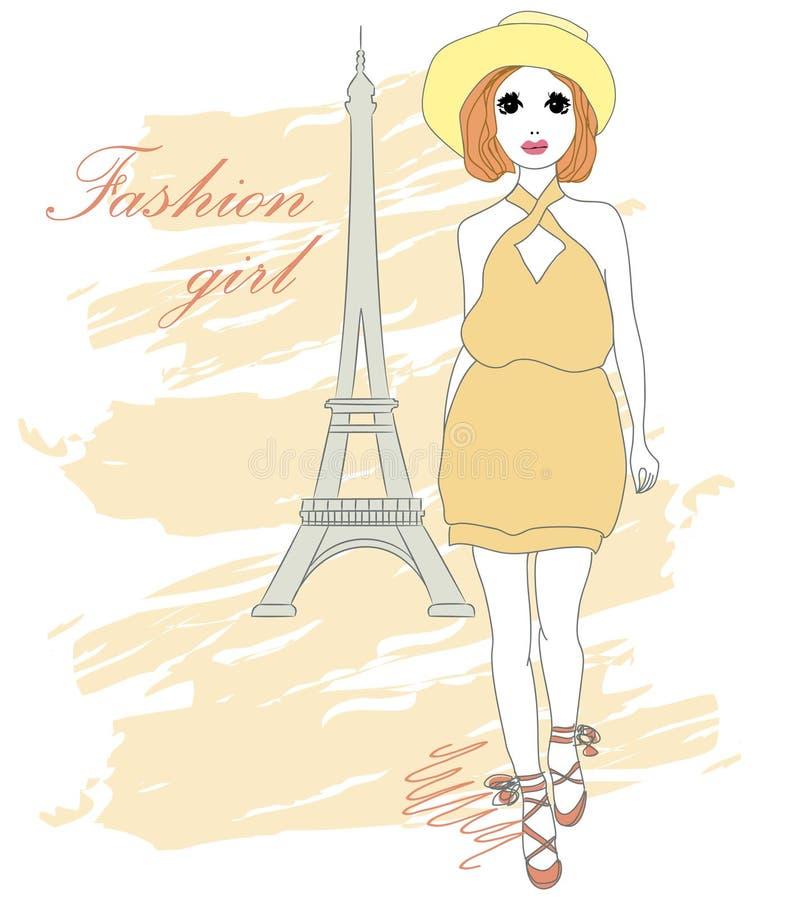 美丽的时髦的时尚女孩 也corel凹道例证向量 向量例证