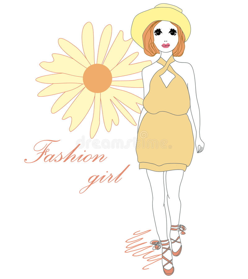 美丽的时髦的时尚女孩 库存例证
