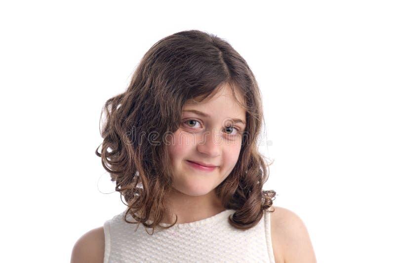 美丽的时兴的白肤金发的女孩被隔绝 免版税库存图片