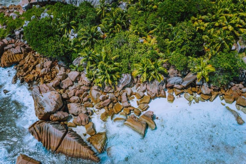 美丽的昂斯市椰树石冰砾空中寄生虫照片在拉迪格岛,塞舌尔靠岸 免版税库存照片