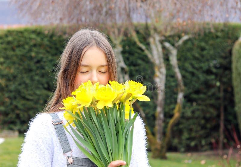 美丽的明亮的黄色春天黄水仙花非离子活性剂浪漫女孩藏品花束接近的画象在她的嗅到i的面孔的 免版税库存图片