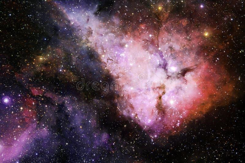 美丽的星云和明亮的星在外层空间,发光的神奇宇宙 图库摄影