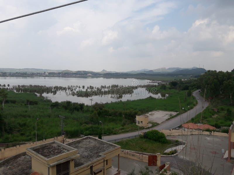 美丽的景色湖水绿叶kalar kahar地方 库存图片