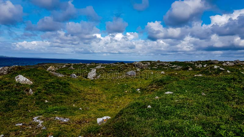 美丽的景色burren与在草和海之间的石灰石岩石在背景中 图库摄影