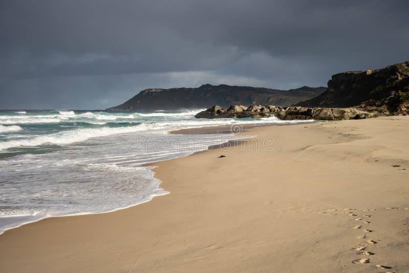 美丽的曼德勒海滩在华美的早晨和风雨如磐的天空的澳大利亚西部 库存照片