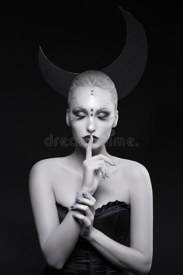 美丽的月亮女孩 图库摄影