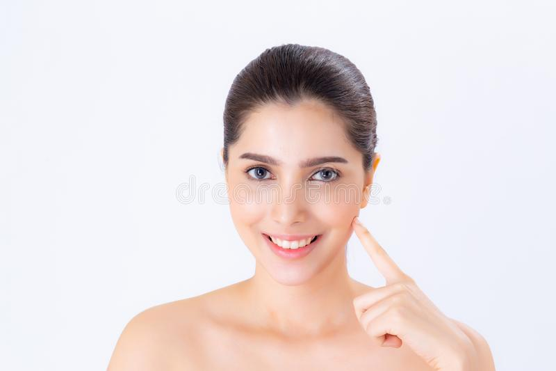 美丽的有吸引力化妆用品、女孩手接触的面颊和的微笑妇女亚洲构成画象  库存图片
