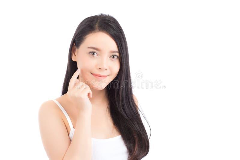 美丽的有吸引力化妆用品、女孩手接触的面颊和的微笑妇女亚洲构成画象  库存照片