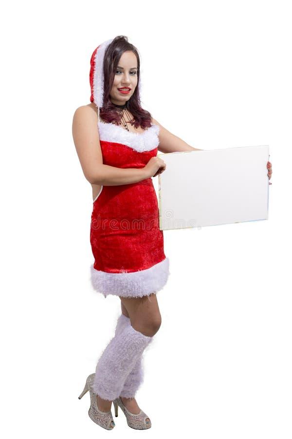 美丽的有横幅的圣诞老人帮手埃及圣诞节女孩 免版税图库摄影
