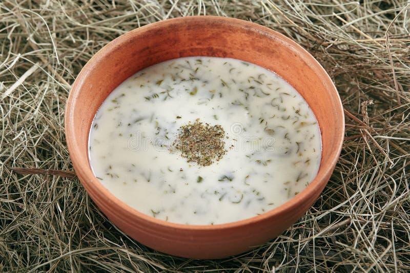 美丽的服务的葡萄酒陶瓷碗自创牛乳气酒汤Dovga 库存照片
