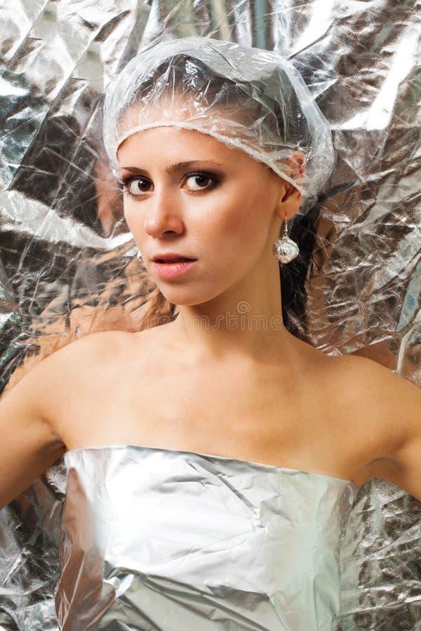 美丽的未来派妇女 免版税库存照片