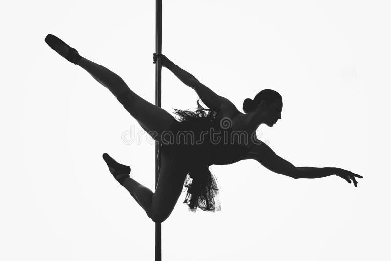 美丽的杆舞蹈家女孩剪影 免版税库存图片