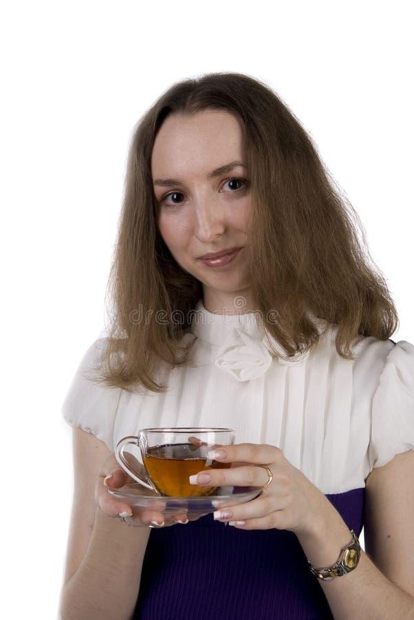 美丽的杯子女孩茶 免版税库存照片