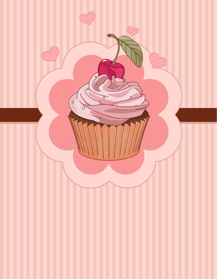 美丽的杯形蛋糕地方卡片 向量例证