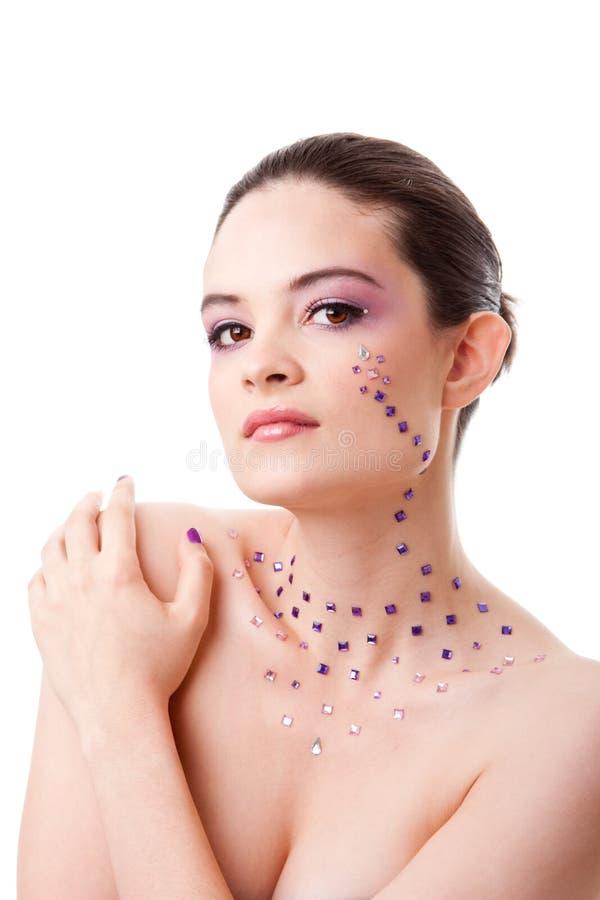 美丽的构成紫色妇女 免版税库存图片