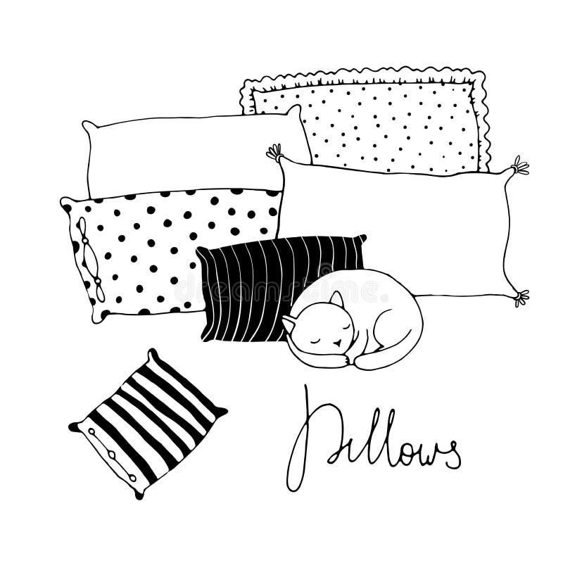美丽的枕头和逗人喜爱的猫在白色背景 库存例证