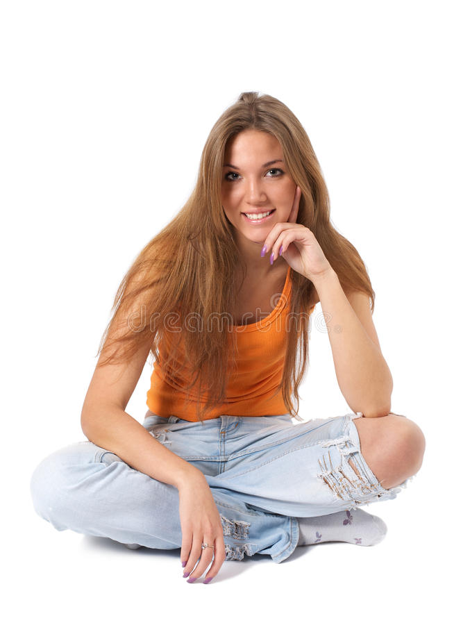 美丽的查出的坐的白人妇女年轻人 库存照片