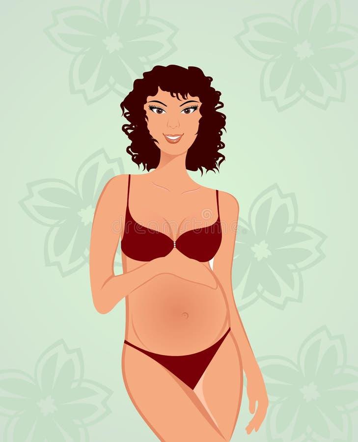 美丽的查出的孕妇 向量例证