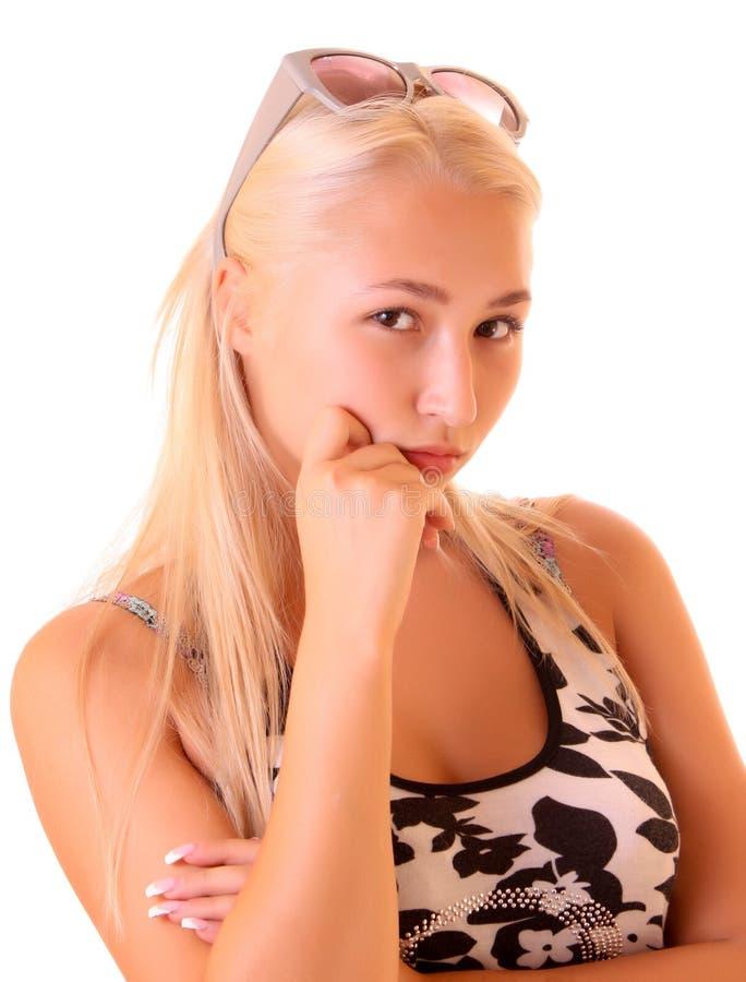 美丽的查出的纵向妇女年轻人 库存图片