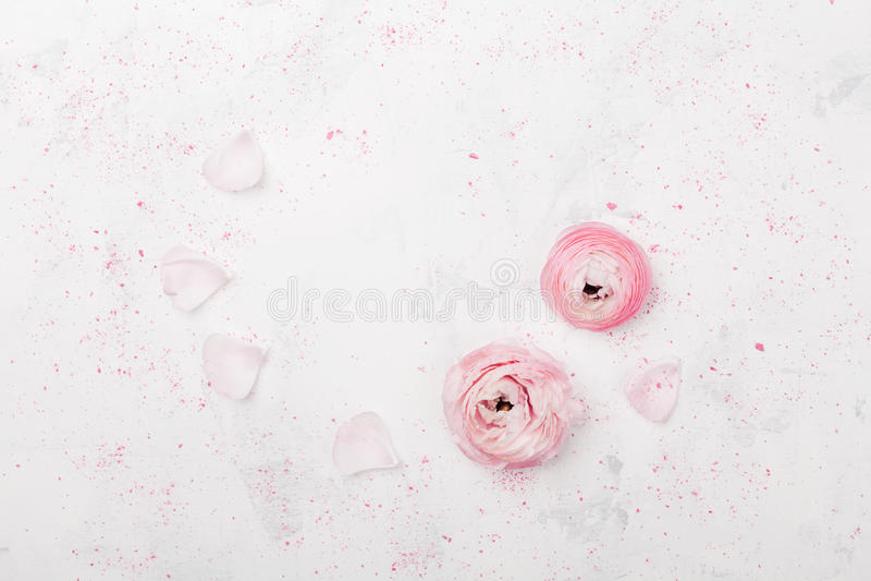 美丽的桃红色毛茛属在白色桌顶上的视图开花 在淡色的花卉边界 在舱内甲板位置样式的婚礼大模型 库存照片