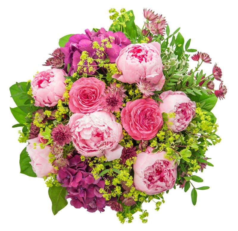 美丽的桃红色牡丹花束在白色背景的 免版税库存照片