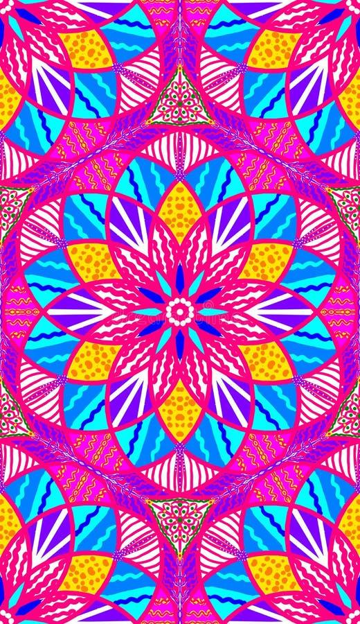 美丽的桃红色,蓝色和黄色花卉对称无缝的瓦片 库存例证