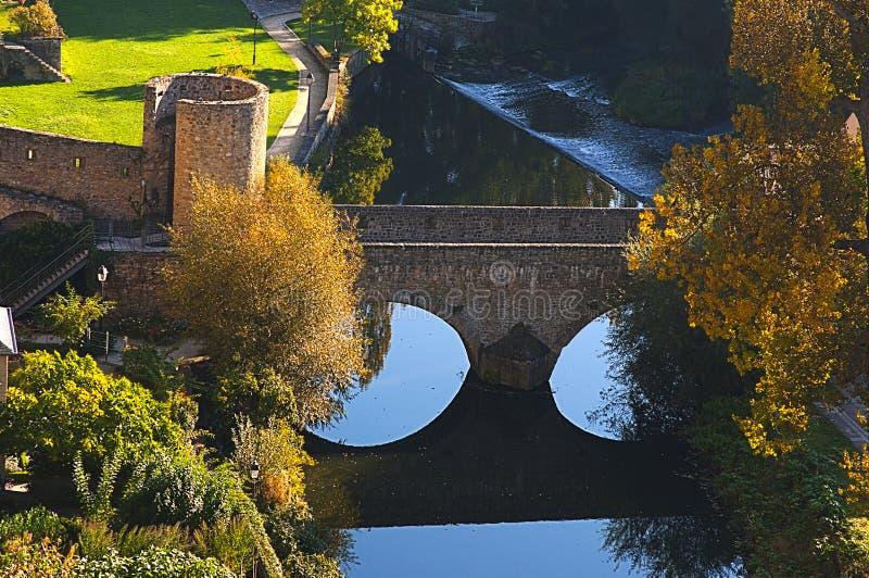 美丽的桥梁城市卢森堡查看 库存照片