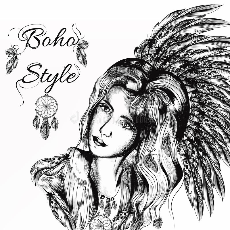美丽的梦想的长发女孩在boho样式weared 皇族释放例证